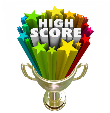 attaining: High Score words in a trophy for achievement in attaining a new record with most points by a winner in a game