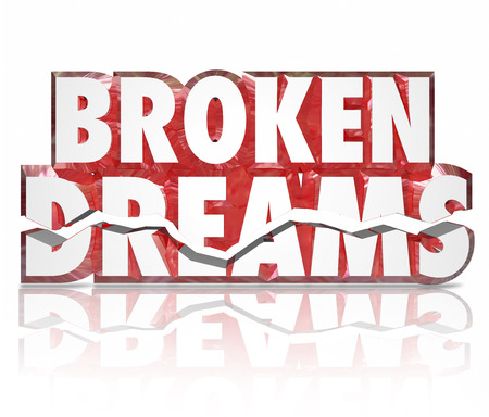 Broken Dreams cracked 3d words to illustrated a crushed spirit, shattered hopes or poor results or performance Imagens