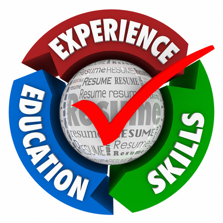 getting better: Resume check mark and arrows for educaiton, skills and experience as qualifications for landing an interview for a new job or career