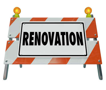 道路の建設、改築サイン、またはバリア家や財産の建物を警告するための単語を改修します。