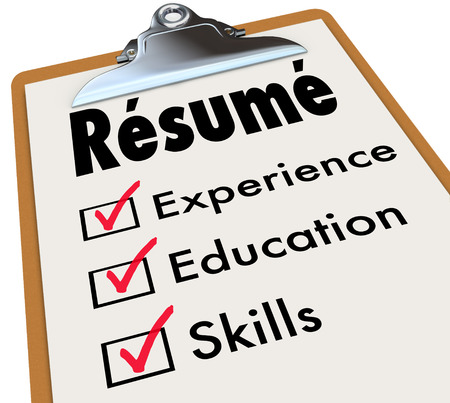 Resume word on a clipboard checklist of qualifications or criteria for a job including education, experience and skills Stockfoto