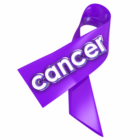 finding the cure: Cancer word on a ribbon for awareness, hope, medical research fundraising and finding a cure to the deadly disease Stock Photo