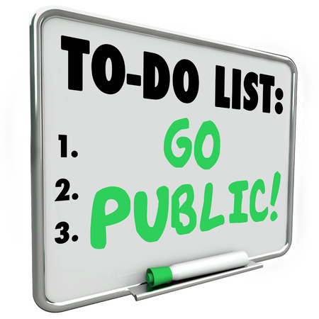 initial public offerings: Go Public make initial stock offering or IPO to raise money or funds for your new company, business or startup venture