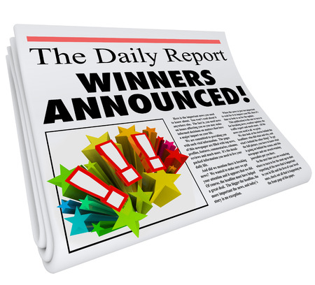 announced: Winners Announced newspaper headline presenting announcement of contest prize or award chosen and reported