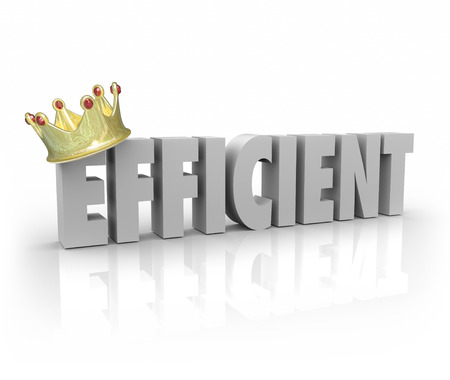 Efficient word with gold crown for effective, productive, performance, system, process or procedure that gets good work done the right way and on time 写真素材