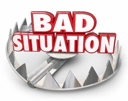 trap: Bad Situation 3d words in a steel bear trap to illustrate danger of being caught in a trap, trouble, problem or issue Stock Photo