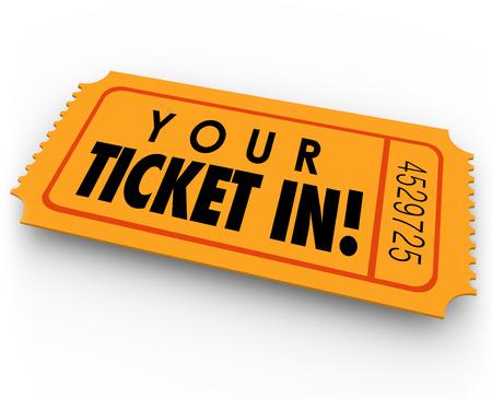 Your Ticket in woorden op de gast-pas of speciale toegang uitnodiging voor een feest, evenement of exclusieve bijeenkomst u wilt bijwonen