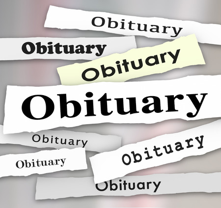 fatality: Obituary words in newspaper headlines as death notices or memorials for dead people, friends, or relatives Stock Photo
