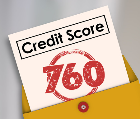 loaning: Credit Score words on a report card with stamp and number 760 to illustrate creditworthiness of an applicant hoping to borrow money in a loan or mortgage Stock Photo
