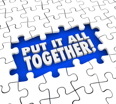 Put It All Together puzzle pieces solving mystery or problem by seeing the full or total picture