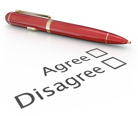 disapprove: Agree and Disagree check boxes with pen to choose or vote a final answer to approve or disapprove a proposal or question Stock Photo