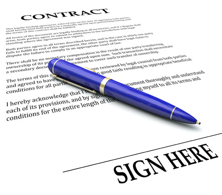 written: Contract and Pen with Sign Here line to illustrate signing a name or signature on a legal agreement, letter or other document to endorse and make it official