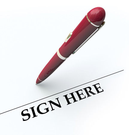 financial official: Sign Here line and pen for signing autograph or signature on a contract, agreement or other legal document