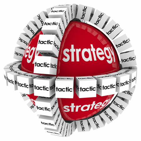 different goals: Strategy and tactics to achieve success in goal, mission or objective through a process, system or procedure Stock Photo