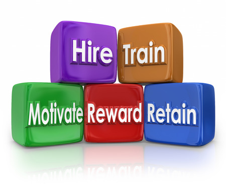 job satisfaction: Hire, Train, Motivate, Reward and Retain human resources blocks to illustrate mission or goal of hr team or department in devleoping employees or workforce