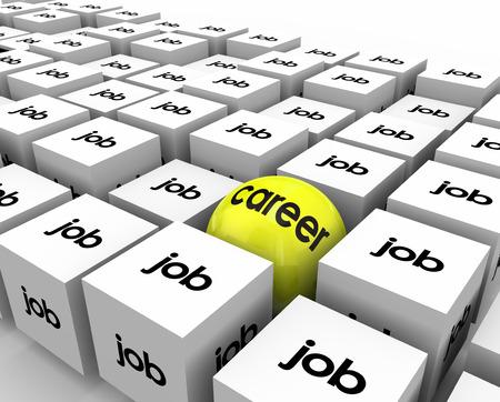 Carrière vs sphère de l'emploi en cubes pour illustrer une grande opportunité de travail avec la chance pour la croissance, la promotion et le développement des compétences