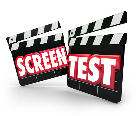 movie screen: Screen Test words on movie clapper boards for acting audition or performance tryout to win a role in a movie or play