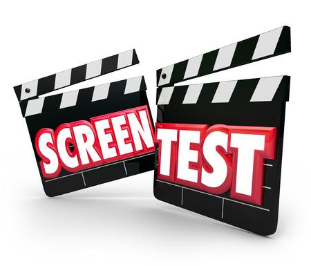 casting: Screen Test Worten Film Clapper Boards f�r die Schauspielerei Casting oder Leistungs Tryout, um eine Rolle in einem Film oder Spiel zu gewinnen