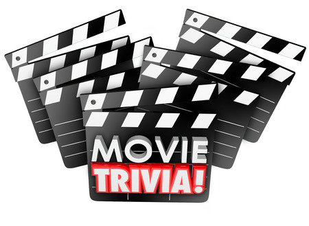action movie: Movie Trivia words on film studio clapper boards to illustrate a cinema quiz, test or game to play and win with knowledge of silver screen information and facts
