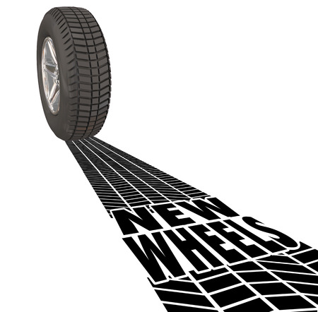 tire tread: New Wheels car tire tread tracks to illustrate the latest product upgrade or vehicle reviews, ratings or details