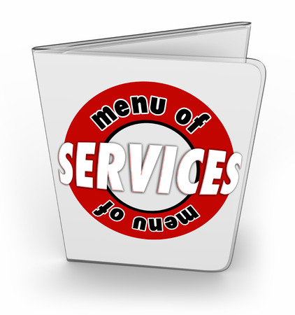 business products: Menu of Services words on a laminated sheet or order form of features, benefits and details on products from your company or business Stock Photo