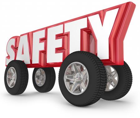 Palabra de conducción de seguridad con ruedas o neumáticos para ilustrar viaja seguro en coche, automóvil, camión u otro vehículo en la carretera Foto de archivo - 43225069