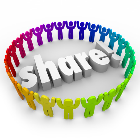 crowd sourcing: Share people gathering joining together in helping or volunteer efforts for community involvement Stock Photo