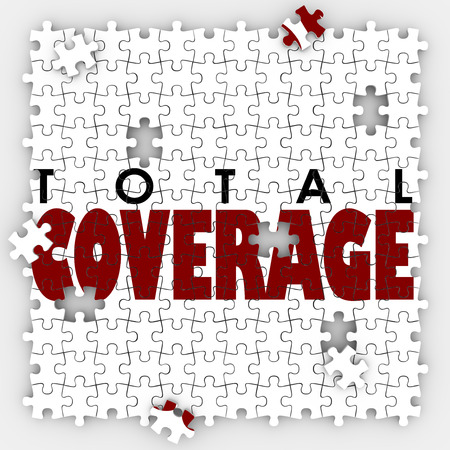 inadequate: Total Coverage words on puzzle pieces to illustrate gaps or holes in an insurance policy to protect your life or health