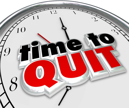 endeavor: Time to Quit clock for end or stop of career, job or work as a finish of a project or endeavor Stock Photo