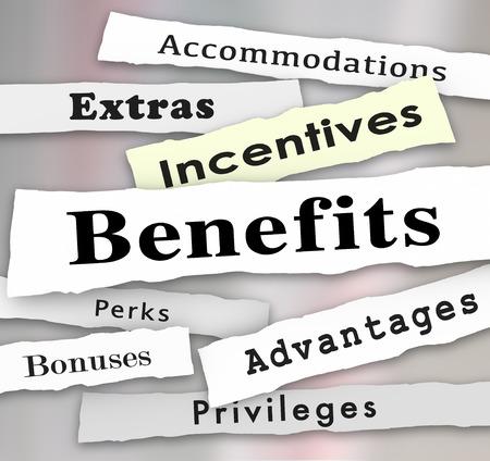 Avantages incitatifs Bonus Extras Perks et les avantages des gros titres des journaux pour illustrer les mises à jour sur des privilèges importants ou d'hébergement d'un emploi ou d'occasion