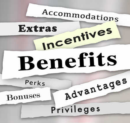 perks: Benefits Incentives Bonuses Extras Perks and Advantages newspaper headlines to illustrate updates on important priveleges or accommodations of a job or opportunity Stock Photo