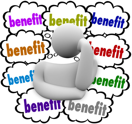 privileges: Benefits words in thought clouds as best incentives or competitive advantages compared by a thinking person pondering a new job or opportunity