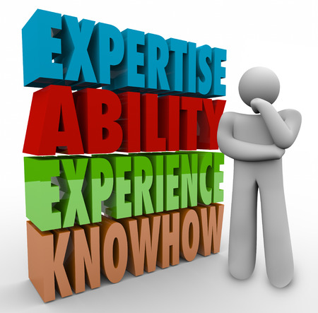 pensador: Capacidad Experiencia Experiencia y conocimientos palabras y pensador que se preguntan acerca de trabajo o de carrera criterios, requisitos o calificaciones Foto de archivo