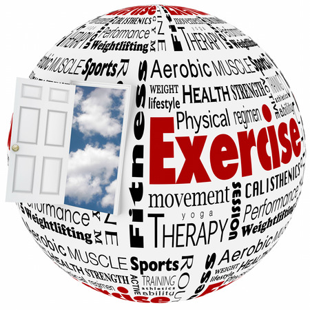 conditioned: Exercise physical fitness world of active lifestyle opportunity to illustrate healthy therapy through sports, athletics, and other activities at the gym