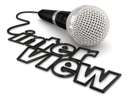 questions: Interview microphone cord word to illustrate a guest being asked questions on a radio, podcast or television program or discussion
