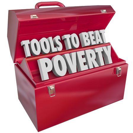 destitute: Tools to Beat Poverty, hunger and poor living conditions in a red metal toolbox Stock Photo