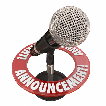 declaring: Announcement word microphone for important news alert, speech or address to a public audience