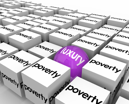 accommodate: Luxury word on one ball or sphere among many cubes marked Poverty to illustrate one rich person living among the poor or underprivileged