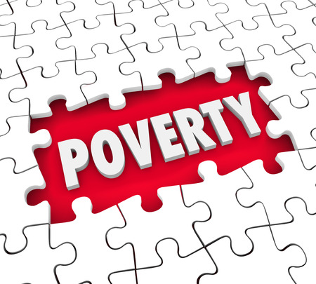 scarcity: Poverty word in puzzle piece hole to illustrate hunger or poor living conditions with lack of food or money and hunger for basic necessities of life