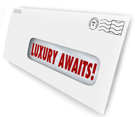 indulging: Luxury Awaits words in an envelope for special exclusive letter or invitation to VIP sale, or lush, fancy party or product