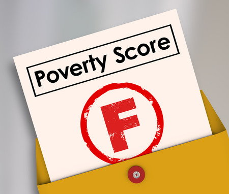 destitute: Poverty Score F Grade on report card to illustrate poor living conditions, hunger and lack of food or money