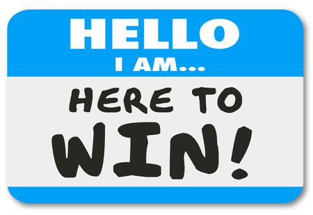 implacable: Bonjour je suis ici pour gagner badge ou un autocollant pour montrer votre d�vouement, la d�termination, la confiance ou attitude positive Banque d'images
