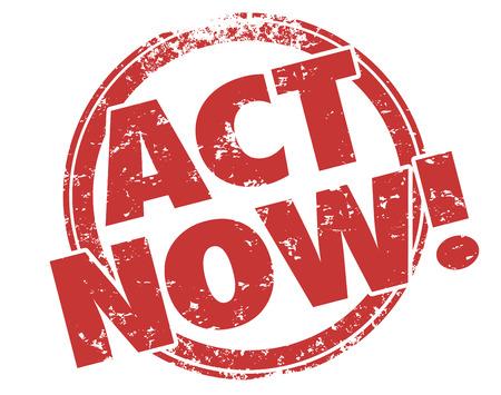 Act Now mots grunge timbre rouge pour encourager ou vous motiver à profiter d'une offre ou d'une publicité spéciale Banque d'images