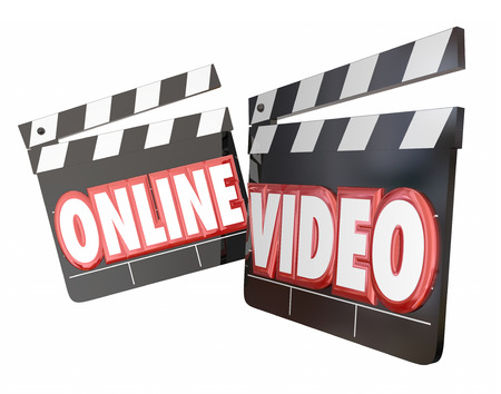 Online Video movie clappers to watch or view streaming movie content on an internet website for an audience Stock Photo