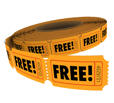 Free word on tickets in a roll to enter and win a contest or raffle at no charge or cost Stock Photo