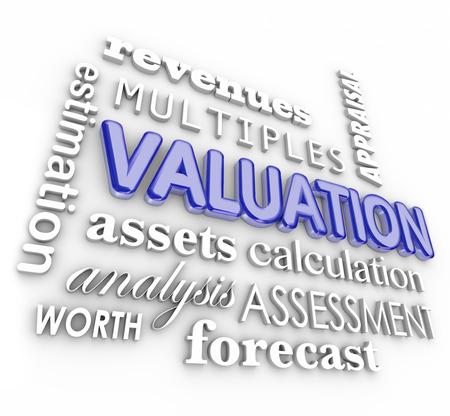 Valuation, inkomsten, veelvouden, activa en de onderneming vermogende 3d woord collage om berekening van een bedrijf of zakelijke verkoopwaarde illustreren