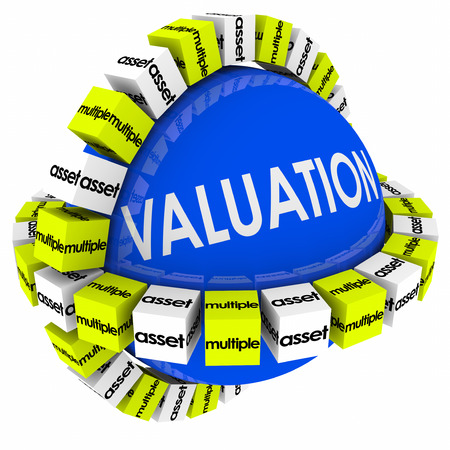 valuation: Valuation sphere for company or business evaluation of net worth with multiples, assets and revenues calculation Stock Photo