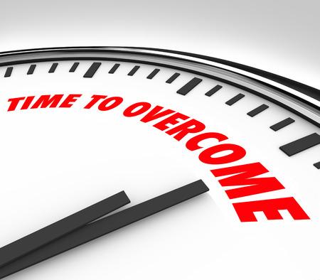 paliza: Tiempo para Superar palabras en un reloj para ilustrar vencer, conquistar o tener �xito en contra de un reto, problema, troulbe, emisi�n o la adversidad Foto de archivo