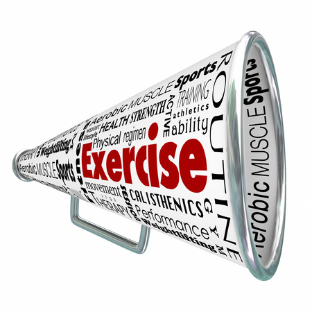 regimen: Exercise bullhorn or megaphone for coaching or training for physical conditioning in weight loss, strength building or health wellness regimen