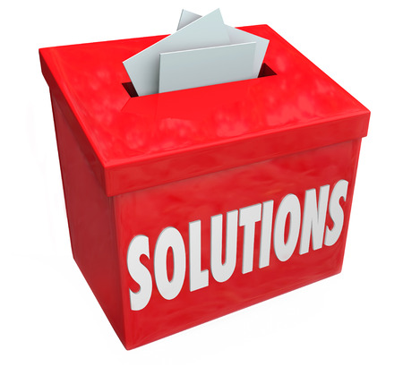 suggested: Solutions word on collection box for sharing ideas on solving problem or trouble with creative or imaginative thinking